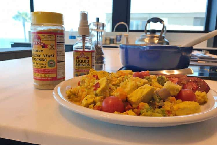 organic tempeh scramble mad with Bragg yeast and amino acids
