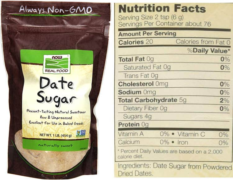 date sugar nutrition facts and ingredients label