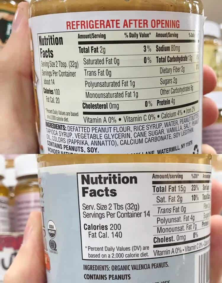 calories and nutrition for defatted peanut butter vs. normal peanut butter