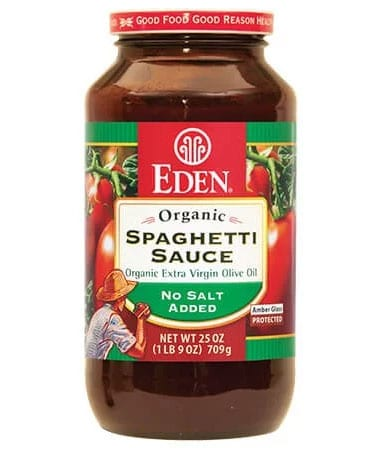 Eden no salt organic spaghetti sauce in amber glass jar