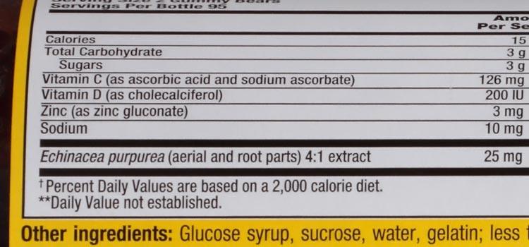 sugar in gummy vitamin C