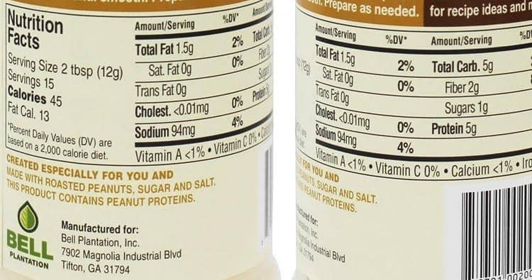 PB2 peanut butter nutrition facts label information