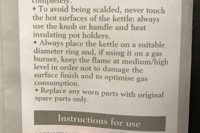 instructions for using Alessi kettle safely