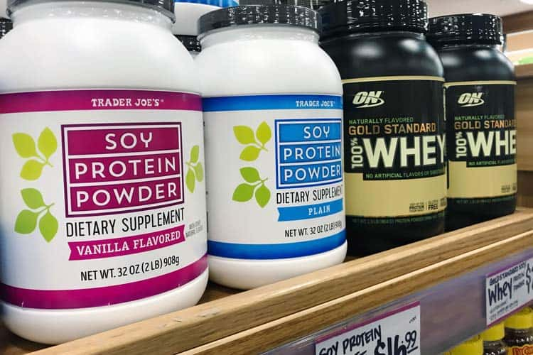 Trader Joe's soy protein powder and Gold Standard whey powder