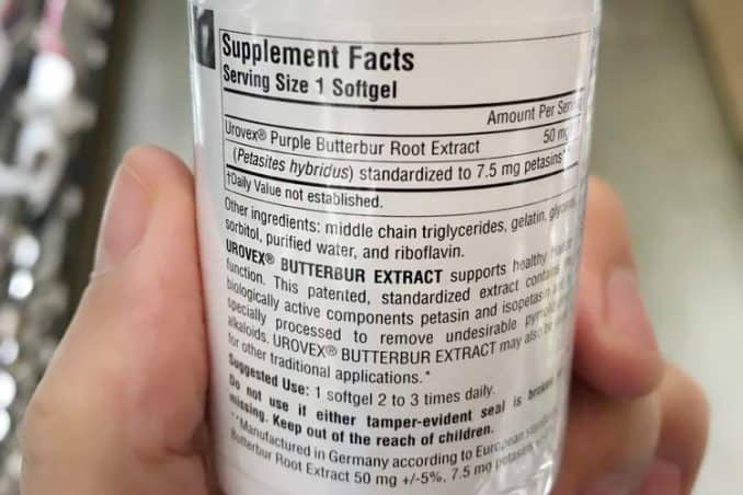 Urovex supplement facts and dosage instructions label