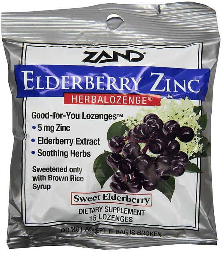 Zand herbal throat lozenge with elderberry and zinc