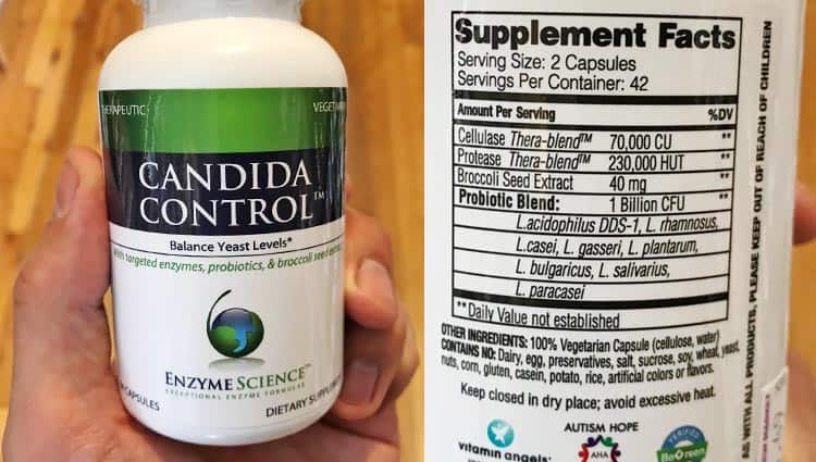 candida control probiotic and enzyme supplement