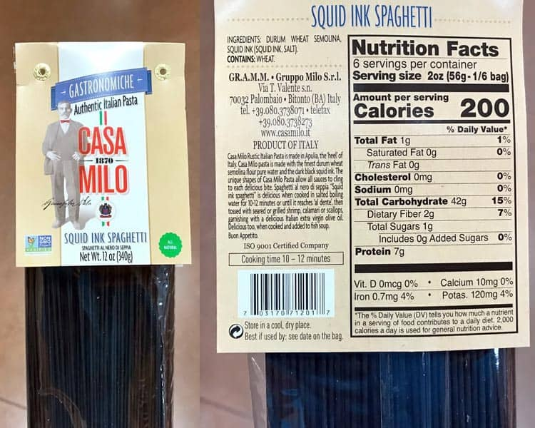 Trader Joe's squid ink spaghetti with nutrition facts and ingredients label