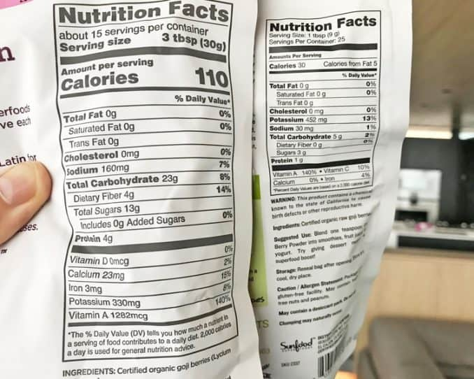 nutrition facts for goji powder and dried goji berries compared