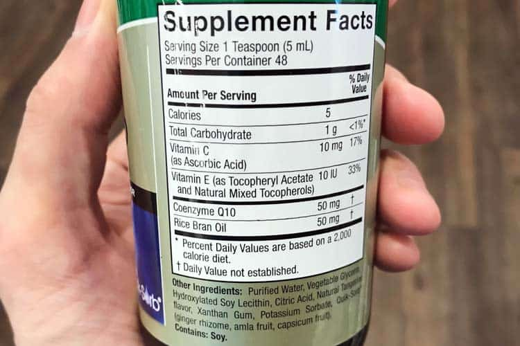 liquid CoQ10 bottle supplement facts and ingredients label
