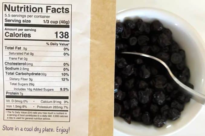 wild dried blueberry nutrition facts label