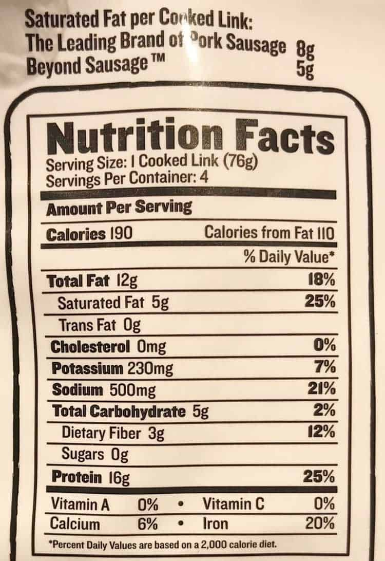 vegan sausage nutrition facts