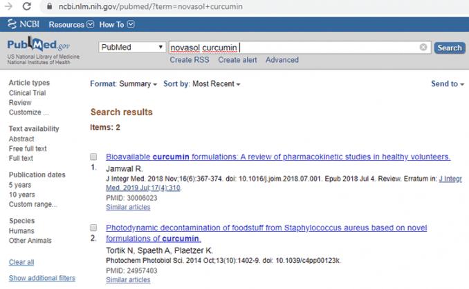 Novasol curcumin human clinical trial studies on PubMed database