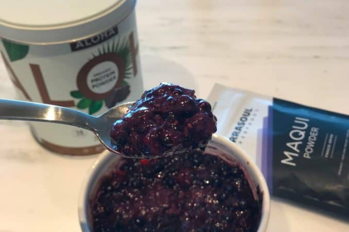 Aloha chocolate protein mixed with berries