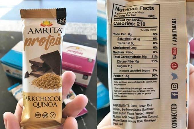 Amrita bar nutrition facts