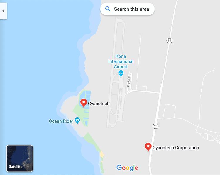 Cyanotech map of where it's grown in Hawaii