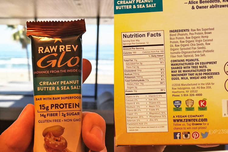 Raw Rev Glo bar nutrition facts for creamy peanut butter and sea salt flavor