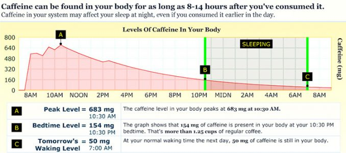 graph of caffeine levels in blood over 24 hours after drinking coffee