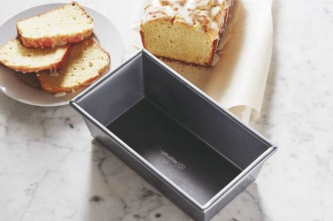 frosted lemon cake baked in Calphalon Signature pan