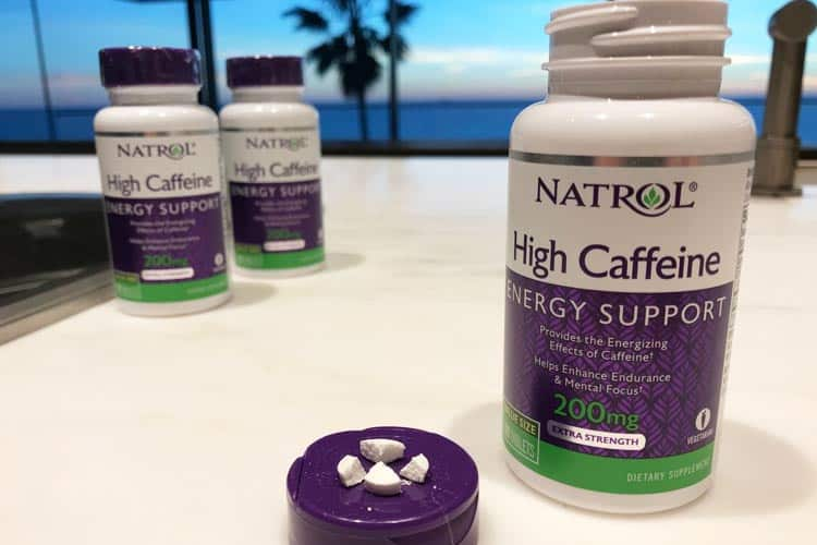 Natrol High Caffeine caplets broken in quarters for 50 mg each
