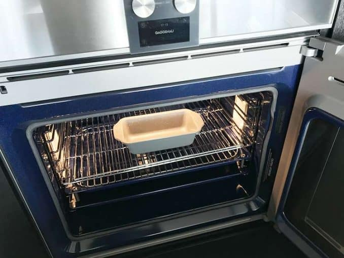 loaf pan in Gaggenau oven