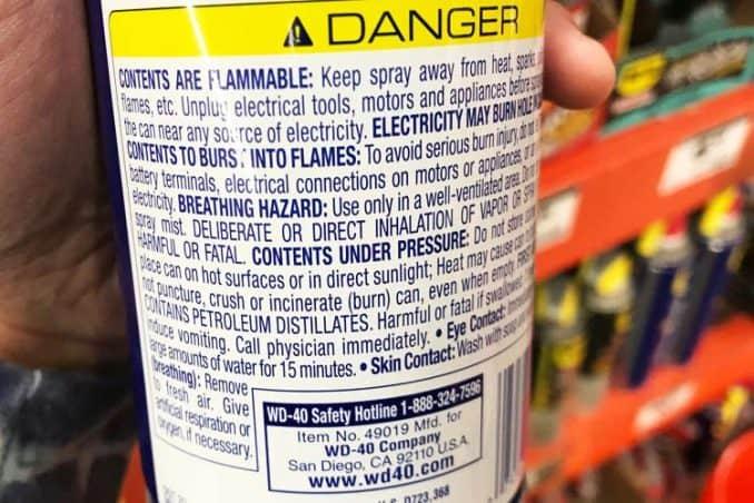 dangers of WD-40 aerosol spray