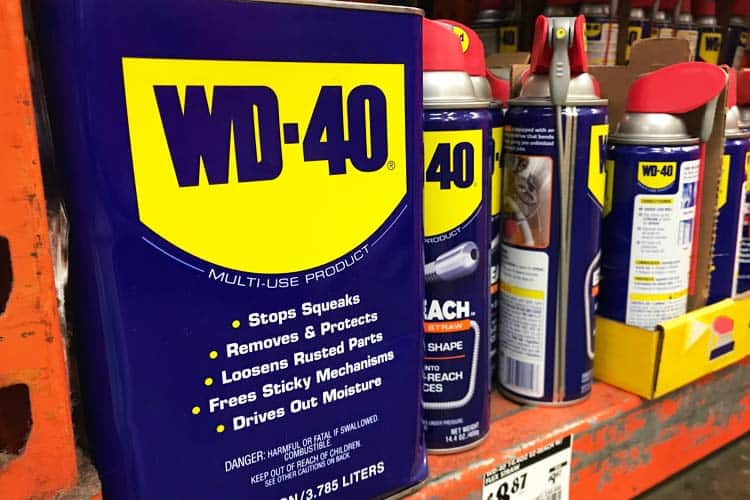 WD-40 gallon and spray bottle sizes of containers sold at Home Depot