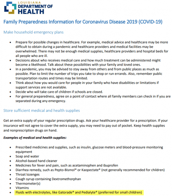 government advice for electrolyte fluids during coronavirus covid-19 infection