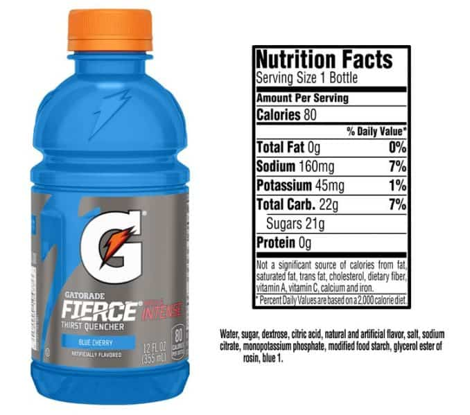 gatorade fierce blue cherry nutrition facts and ingredients label
