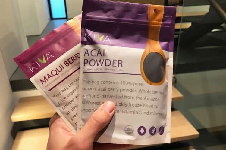 Kiva acai and maqui powder bags