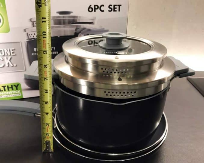 """Greenpan Levels hard anodized stackable set with tape measure showing 9.75"""" condensed height"""