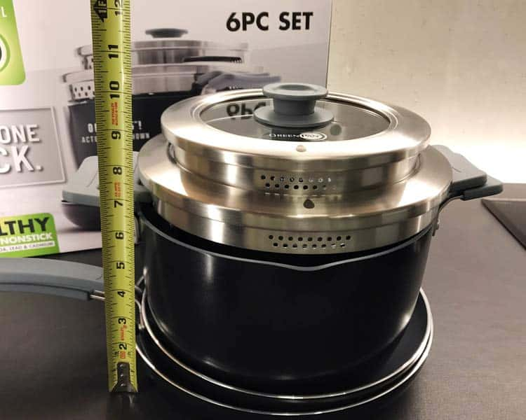 "Greenpan Levels hard anodized stackable set with tape measure showing 9.75"" condensed height"