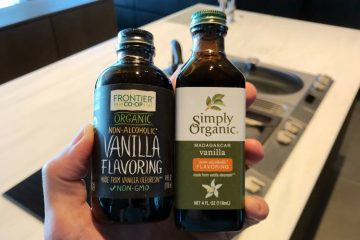 Frontier and Simply Organic non-alcoholic vanilla extract bottles 4 oz