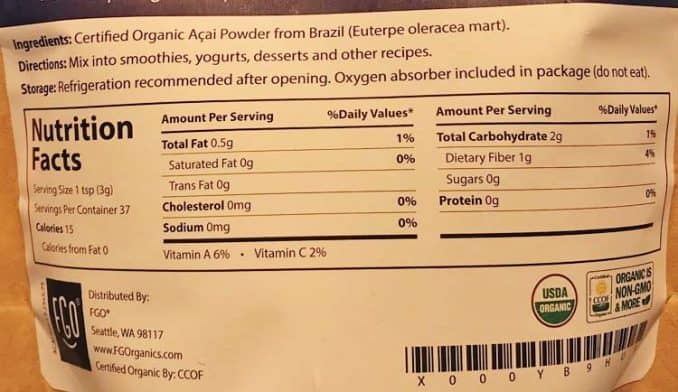 acai nutrition facts and ingredients label for Feel Good Organics