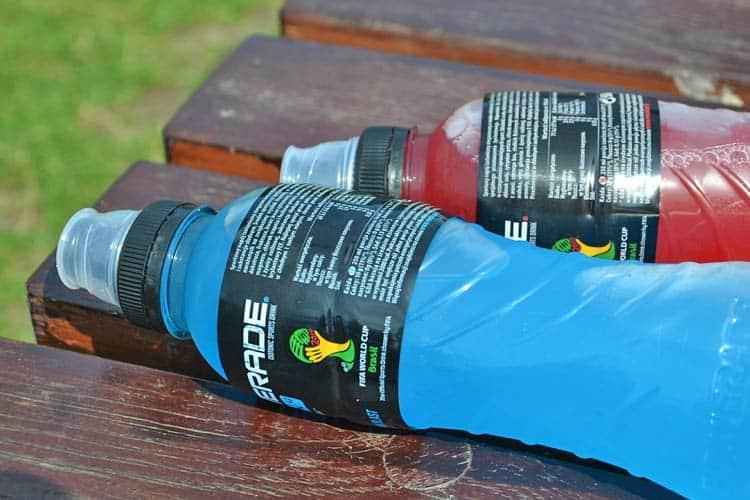 blue Powerade bottle