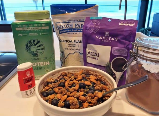 protein bowl made with acai powder, quinoa, cacao, and Lakanto liquid monk fruit