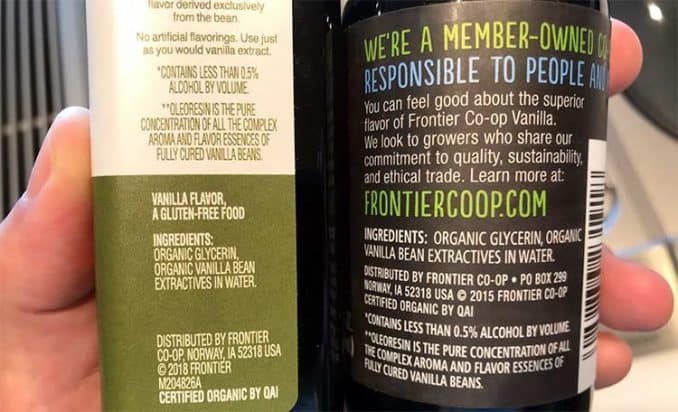 ingredients of Simply Organic and Frontier Co-Op vanilla flavoring compared