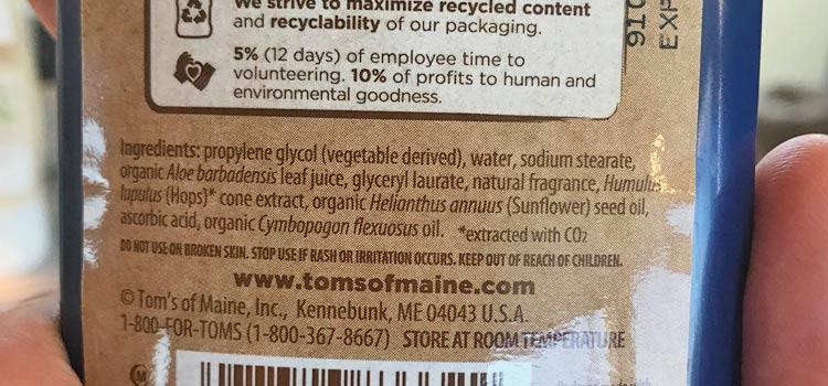 Tom's of Maine deodorant ingredients label