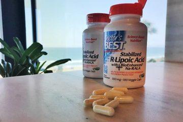 bottle of Doctor's Best R-lipoic acid 100 mg vegan veggie capsules